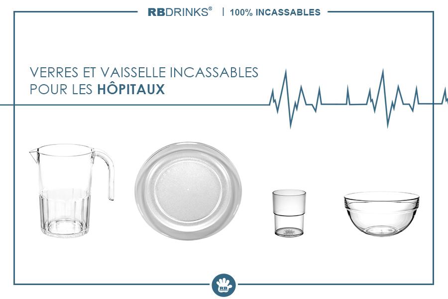 Verres & Vaisselle 100% incassables pour les hôpitaux