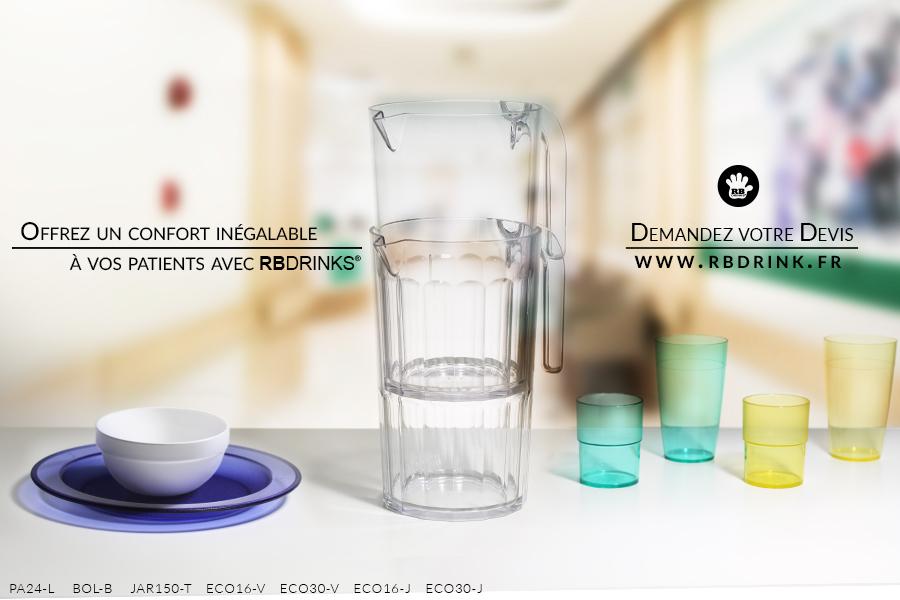 Verres et vaisselle incassables pour hôpitaux